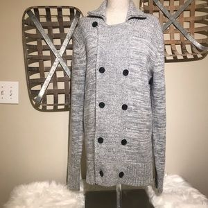 H&M grey peacoat style sweater jacket wool blend